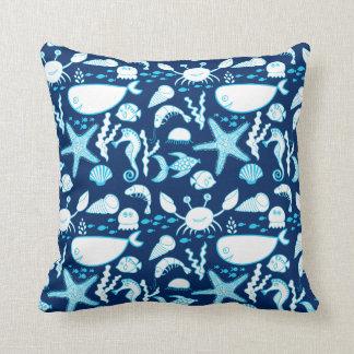 Nautical Under the Sea Cartoon Cute Blue Throw Pillow