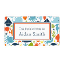 Nautical, Under the Sea Personalized Book Label