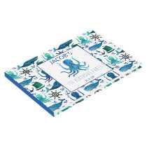 Nautical Under The Sea Watercolor Octopus Guest Book