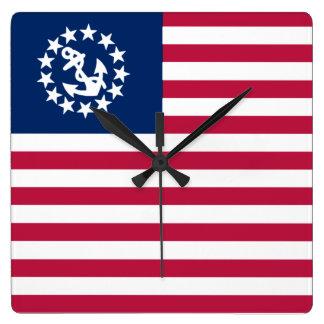 Nautical USA Sailing Flag Square Wall Clock