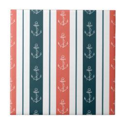 Nautical Vintage Anchor on Stripes Pattern Ceramic Tile