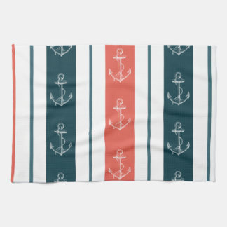 Nautical Vintage Anchor on Stripes Pattern Hand Towel