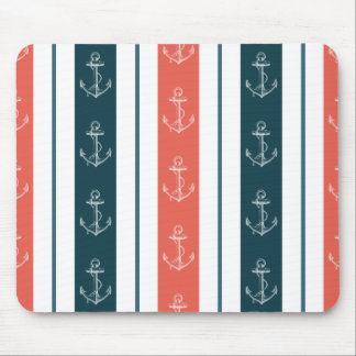 Nautical Vintage Anchor on Stripes Pattern Mouse Pad