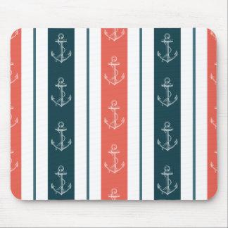 Nautical Vintage Anchor on Stripes Pattern Mousepad