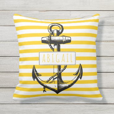 Beach Themed Nautical vintage anchor on yellow striped pattern outdoor pillow