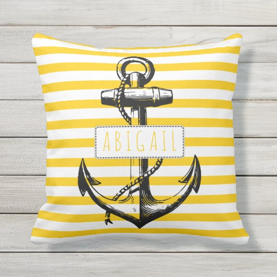 Nautical Vintage Anchor On Yellow Striped Pattern Outdoor Pillow