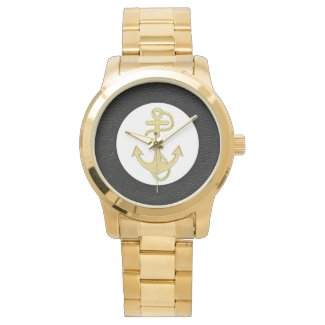 Nautical Vintage Gold Anchor Mens Watch