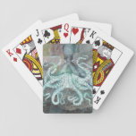 """Nautical Vintage Octopus Playing Cards<br><div class=""""desc"""">Vintage meets contemporary art. This octopus is sure to make anyone smile. Perfectly balanced warm and cool tones combine with gorgeous illustration and graphic elements to make a timeless image. Surprise a friend,  or keep it for your own collection.</div>"""
