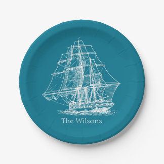 Nautical Vintage Sailing Ship Personalized 7 Inch Paper Plate