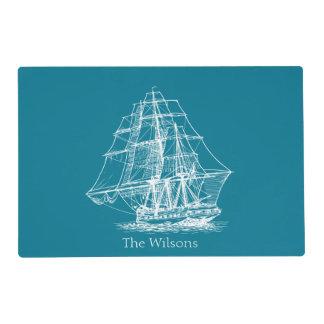 Nautical Vintage Sailing Ship Personalized Placemat