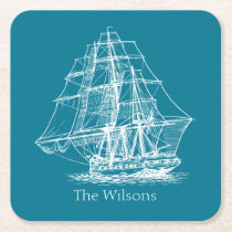 Nautical Vintage Sailing Ship Personalized Square Paper Coaster