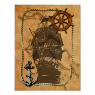 Nautical Vintage Ship And Map Poster