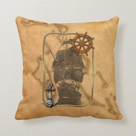 Nautical Vintage Ship And Map Throw Pillow