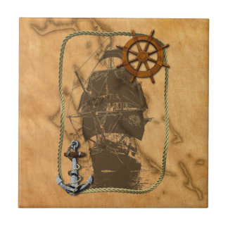 Nautical Vintage Ship And Map Small Square Tile