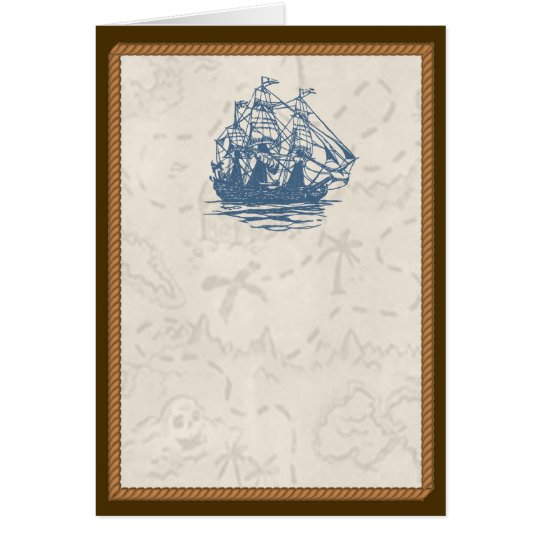 Nautical Vintage Ship Treasure Map Card