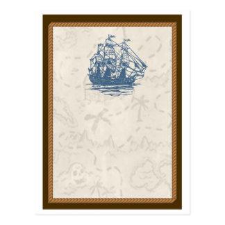 Nautical Vintage Ship Treasure Map Postcard