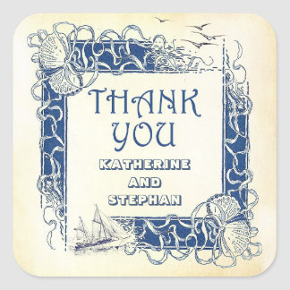 nautical vintage thank you stickers