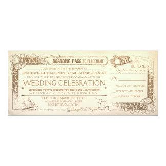 nautical vintage wedding invitation boarding pass - Boarding Pass Wedding Invitations