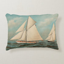 Nautical Vintage Yachts Racing #1 Accent Pillow