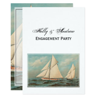 Nautical Vintage Yachts Racing #1 Engagement Party Card