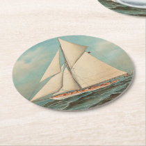 Nautical Vintage Yachts Racing #1 Round Paper Coaster