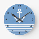 Nautical wall clock with ship anchor