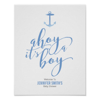 Nautical Watercolor Anchor Blue Baby Shower Welcom Poster