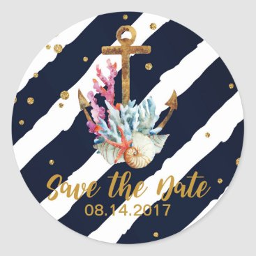 Beach Themed Nautical Watercolor Anchor Seashell Save the Date Classic Round Sticker