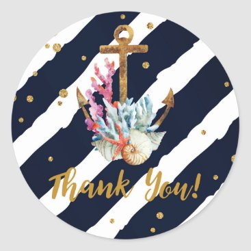Beach Themed Nautical Watercolor Anchor Seashell Thank You Classic Round Sticker