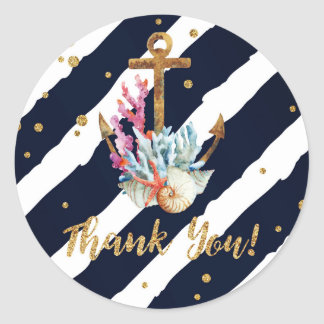 Nautical Watercolor Anchor Seashell Thank You Classic Round Sticker