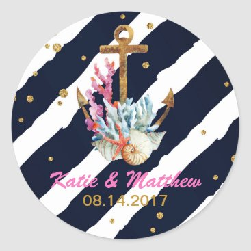 Beach Themed Nautical Watercolor Anchor Seashell Wedding Classic Round Sticker