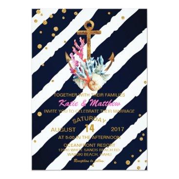 Beach Themed Nautical Watercolor Anchor Seashells Wedding Card