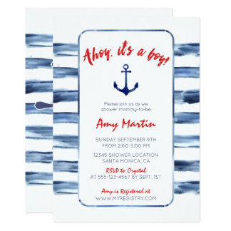 Nautical, Watercolor Baby Shower Invitation