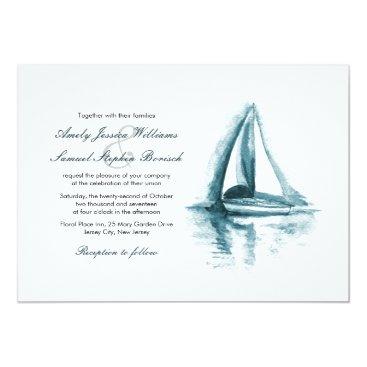 pinkpinetree Nautical Watercolor Boat Wedding Invitation