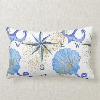 Nautical watercolor design with golden dust, marin lumbar pillow
