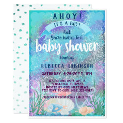 Nautical Watercolor Glitter Baby Shower Card