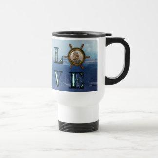 """Nautical Watercolor """"Love"""" Travel Mug"""