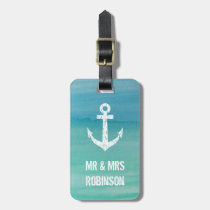 Nautical watercolor mr and mrs travel luggage tag