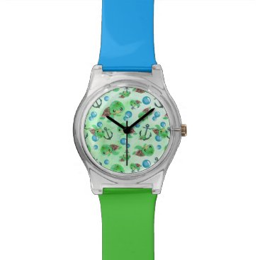 Beach Themed Nautical Watercolor Sea Turtle Anchors & Bubbles Watch
