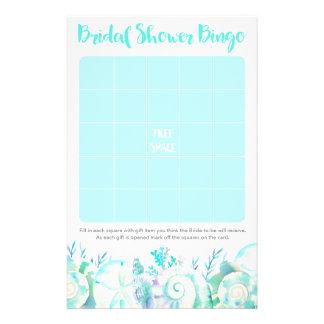 Nautical Watercolor Seashell Bridal Shower Bingo Flyer