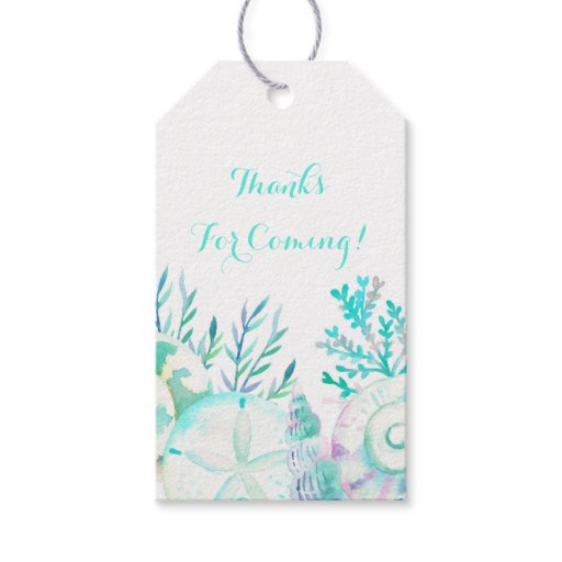 Nautical Watercolor Seashell Bridal Shower Gift Tags