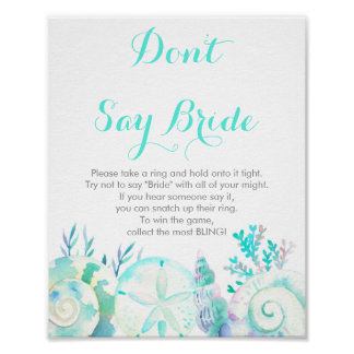 Nautical Watercolor Seashell Don't Say Bride Game Poster