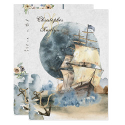 Nautical Watercolor Ship and Full Moon Wedding Invitation