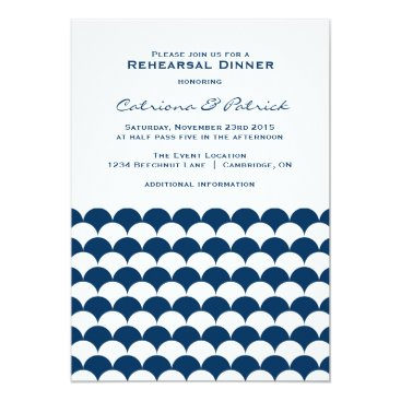 Beach Themed Nautical Waves Pattern Rehearsal Dinner Invitation