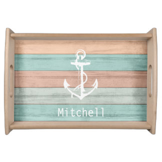 Nautical Weathered Beach Wood Anchor Serving Tray