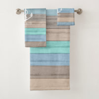 Nautical Weathered Summer Beach Wood Anchor Bath Towel Set