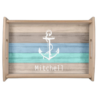 Nautical Weathered Summer Beach Wood Anchor Serving Tray