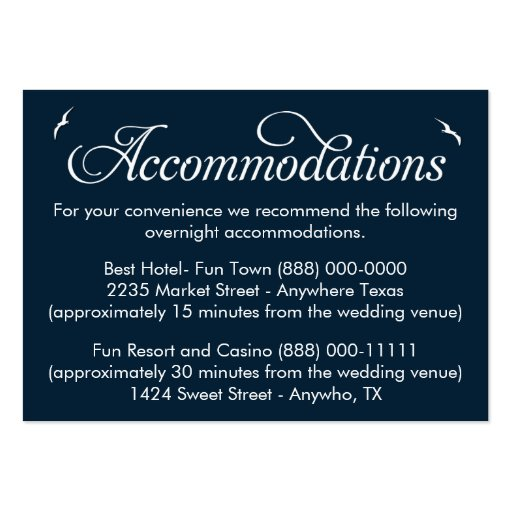 nautical wedding accommodation reception cards business card templates zazzle. Black Bedroom Furniture Sets. Home Design Ideas
