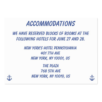 Nautical Wedding Accommodations Business Cards