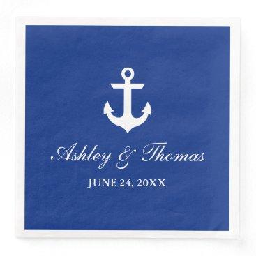 Nautical Wedding Anchor Blue D Paper Dinner Napkin